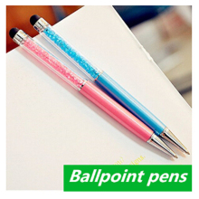 2 Pcs Cute Kawaii Brand Diamond Metal Ballpoint Pen Touch Screen Crystal Ball Pen For Ipad Iphone Office Supplies Free Shipping(China)