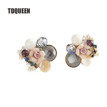 TDQUEEN Stud Earrings Trendy Women Crystal Beads Flower Brincos Gold-color Fashion Jewelry Zinc Alloy Metal Ear Stud Earrings(China)