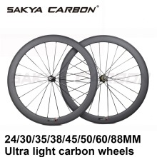 Ultra Light 700C Road Bike Carbon Wheels Clincher Tubular 24mm 35mm 38mm 45mm 50mm 60mm 88mm with 20.5mm 23mm Wide