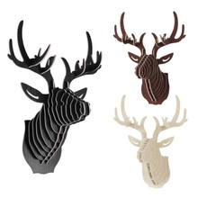 2017 NEW deer Head 3D Puzzle Wooden DIY Model Wall Hanging deer Head elk wood gifts craft Home decoration Animal Wildlife(China)