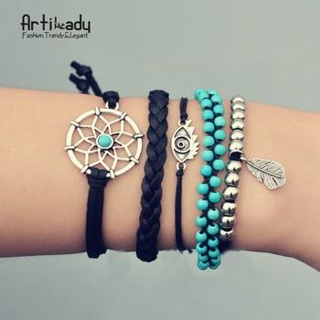 Artilady pu bracelets en cuir vintage set turquoise perles dreamcatcher bracelet bracelets pour les femmes bijoux