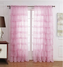 beautiful New garden curtains for girl's bedroom, window screening romantic blind white,pink,green lace yarn/tulle curtain
