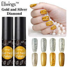 Ellwings 1pcs Gold and Silver Diamond Hybrid Nail Gel Varnish Glitter UV Gel Nail Polish Soak Off Esmaltes Makeup Tools