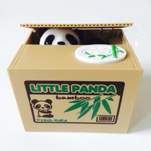 Mischief Saving Box Little Cat Steal Money Funny Animals Panda Automatic Electric Stole Coin Piggy Bank toy for Children PT870(China)