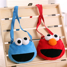 Hot Sale 1Pc 14x16Cm Sesame Street ELMO cookie monster Plush pack Children cartoon Lanyard bag Kids Birthday Gift(China)
