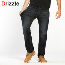 Drizzte Mens Jeans Plus Size 30-44 Stretch Denim 4 colors Men's Straight Jean Pants Casual Relax Loose Fit Jeans Trousers Pants(China)