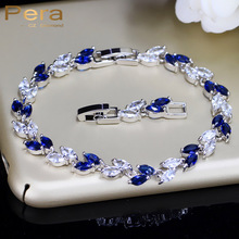 Pera Fashion Royal Jewelry White Gold Color Big Leaf Shape Dark Blue Cubic Zirconia Stone Chain & Link Bracelet For Women B005(China)