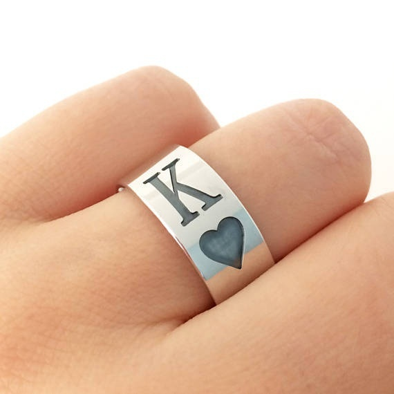 Titanium Steel Round Classic Cool Unisex Jewelry Chunky Black Enamel Spades Poker Q K Ring Men Women Silver-color