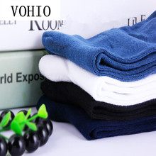 VOHIO 100% cotton scoks Absorb sweat A pack of 4 pairs Blue white autumn winter business men's anti-smelly socks wholesale male(China)