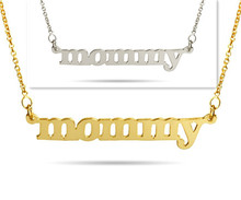Wholesale Personalzied Nameplate Necklace Sterling Custom Name Pendent Golden Plate Vermeil Mother's Gift(China)