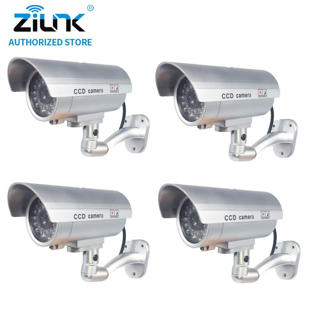 Dummy Fake 4pcs Bullet Camera Outdoor Indoor Security CCTV Surveillance Waterproof Camera Flashing Red LED Free Shipping Silver<br>
