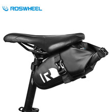 ROSWHEEL Outdoor Cycling Saddle Bag MTB Road Bike Waterproof PVC Ultra-Light Tail Pouch Package Bicycle Seat Post Pannier Bag(China)