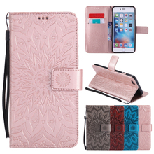 Flip Leather Case sFor Fundas Apple iphone SE 5 5s 6/6s 7 plus Coque Mandala Flower Wallet Cover Stand Phone Cases
