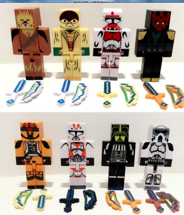 24pcs/lot Juguetes Minecraft  star wars block toys figure lot  2015 New minecraft series 3 sword zombie steve pickaxe toys set<br><br>Aliexpress