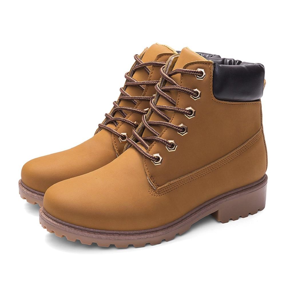 Szyadeou Women Ladies Round Toe Lace-up Faux Boots Ankle Casual Martin Shoes botas mujer invierno kozaki damskie schoenen 30 10
