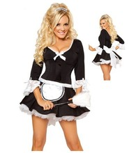 Black Sexy Naughty French Maid Fancy Dress Apron Party Cosplay Halloween Costumes For Women Outfit Uniform
