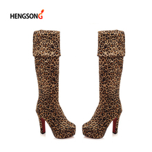 Fashion Leopard Winter Boots  Women Over The Knee Boot Suede Stretch Sexy Platform High Heel Boots Women Shoes Plus Size 34-43