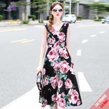 New Runway Summer Dress 2017 High Quality Women's Sexy V Neck Fashion Pink Rose Printed Backless A Line Long Dress Free DHL UPS(China)