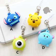 Cute Cartoon Mobile phone dust plug 3.5mm audio port earphone jack plug phone decoration Pendant for iphone 6 6s xiaomi oppo