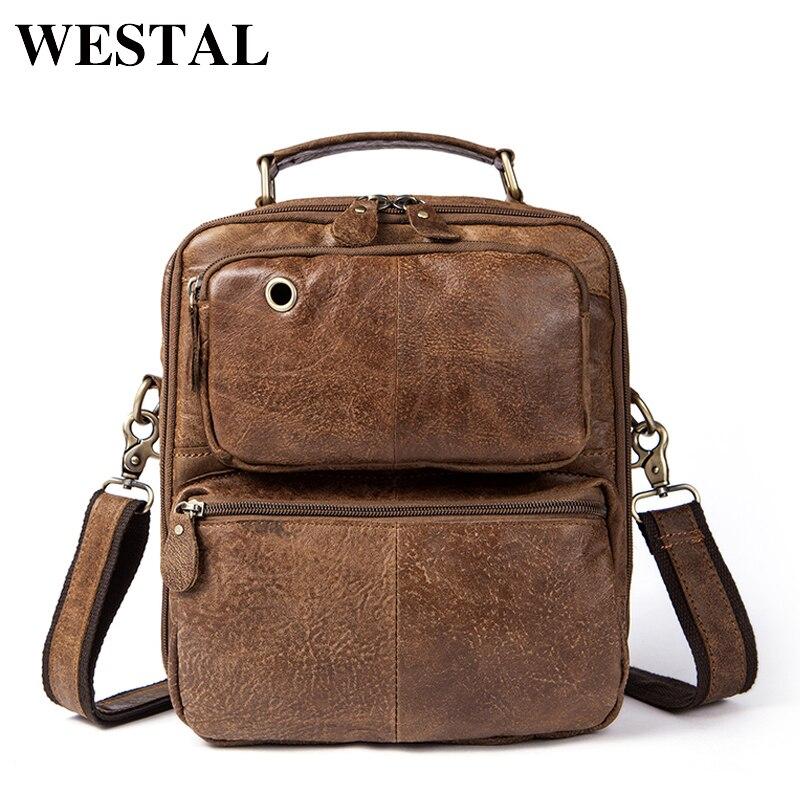 WESTAL Shoulder Bags Men Genuine Leather Zipper Crossbody Bags Men Messenger Vintage Handbag Leather Man Bag Shoulder Bag 8954<br>
