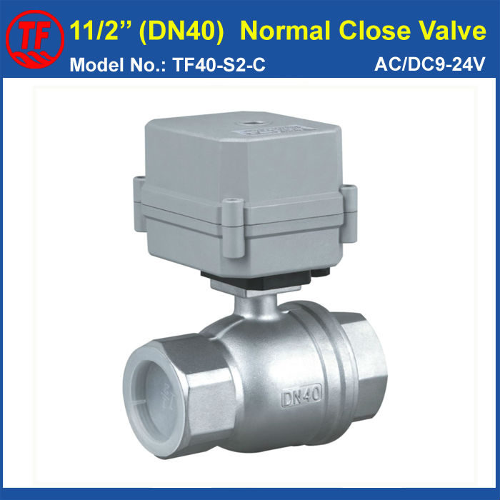 AC/DC9-24V 2 Wires Electric Water Valve, 2-Way Stainless Steel Full Port BSP or NPT 11/2 DN40 Normal Closed Motorized Valve<br><br>Aliexpress