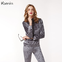 Ksenia Brand design Women velvet Casual Club Sets 2017  Spring Autum 2 piepcs Long Sleeve Top And Pants Tracksuit Set