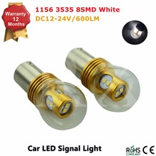 2PCS/Lot Free Shipping 1156 8W LED Turn Signal Light, 360 Degree BA15S Base LED Reverse Parking Lights Bulbs White