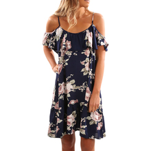 YJSFG HOUSE Women Summer Off Shoulder Ruffled Evening Party Dresses Casual Sexy Floral Print Beach Dress Loose Ladies Sundress