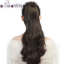 S-noilite Long Wavy Wrap Around Ponytail Claw Jaw in Hair pieces Real Natural Remy Hair Extensions for human