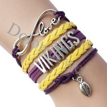 Drop Shipping Infinity Love Minnesota Vikings Football Team Name Bracelet- Custom Pruple with Yellow Braid Leather