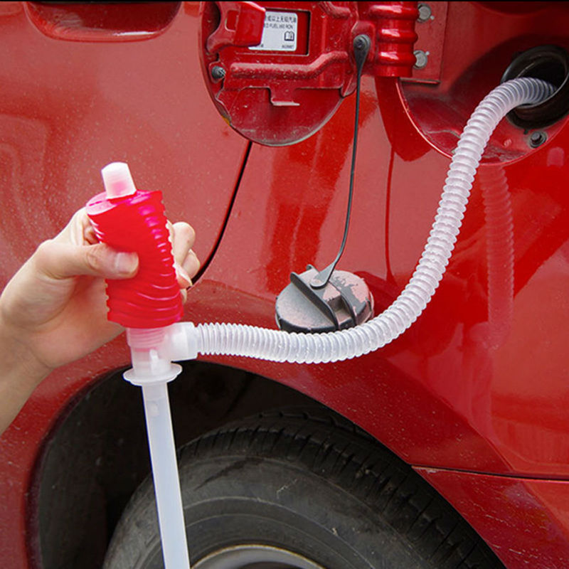 Portable Car Manual plastic Hose Gas Oil Syphon Transfer Pump Car Truck Fuel Oil Gasoline Diesel red Transfer for Liquid (2)