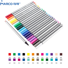 Marco 0.4MM 24Colors Water Based Assorted Ink Non-toxic Material Marker Pen brush Triangular Fineliner Pens for Drawing Graffiti