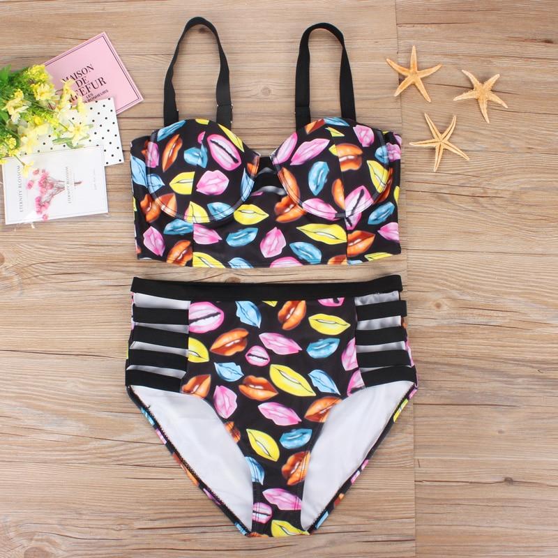 2017 New High Waist Women Bikini Plus size XL,XXL,XXXL Push Up Bandage Swimsuit Biquini Print Black Bathing Suit Monokini 7011<br><br>Aliexpress
