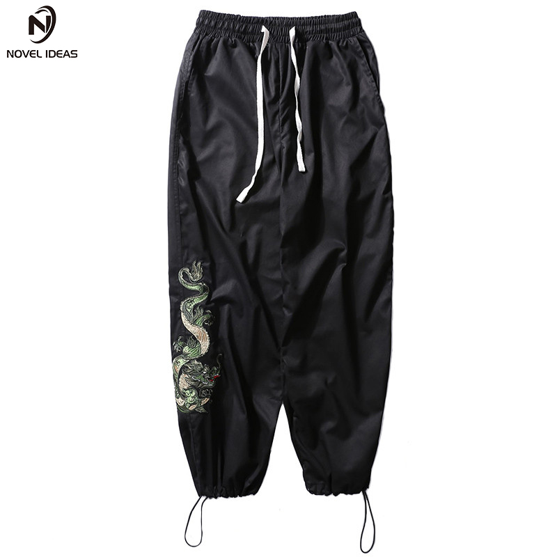 Chinese Dragon Embroidery Pant Streetwear Men Casual Trousers Hip Hop Joggers Pant Loose Harajuku Harem Pants 2018 Spring Summer