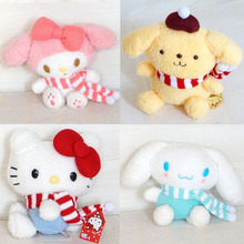 18/36cm Hello Kitty My Melody Big Ears Cinnamoroll Dog Pudding Dog Japanese Anime Toys Soft Toy For Girl Scarves Plush Toys Doll(China)