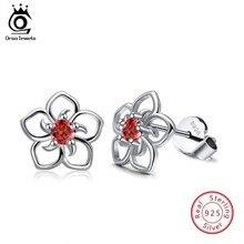ORSA JEWELS Real 925 Sterling Silver Stud Earrings Cute Flower Red Color AAA Cubic Zircon Women Earrings Fashion Jewelry SE71-R
