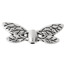 New Brands Beads Jewelry 100PCs Silver Tone Metal Dragonfly Wing Spacer Beads 22mm x8mm DIY Women &Men Bracelets Jewelry Gifts