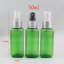 wholesale,50ml Mini square green Plastic Pump Spray Bottle Foam Makeup for women Cosmetic Cute Tool Storing Perfume etc