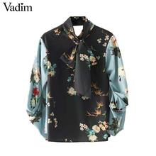 Vadim women bow tie neck floral shirts with gathered sleeves back cut out long sleeve vintage blouse chic tops blusas LT2371(China)