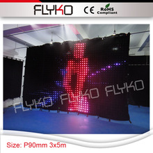 indoor wall Dj backdrop P90mm high definition popular hot size 3x5m led vision bar curtain with colorful lights