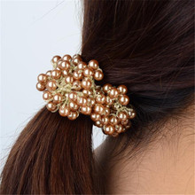 New Trendy Craft Woven Beads Elastic Hair Band Rope Scrunchie Ponytail Holder for Women Girls Accessories