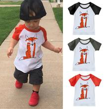Short Sleeve Children Boys Girls T shirt Kids Wear Clothes Cute Baby Kids Boys Girls Short Sleeve Fox Print T-Shirt Top Outfits