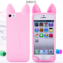 Free shipping 3D koko cute Ear Cat Case For IPhone 5C SE 5G 4S 6S 7 plus phone cases Ear can Open the screen(China)