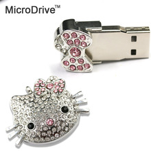 Ladies 64gb 32gb 16gb usb flash drive crystal Memory storage gifts diamond lovely cat usb flash drive 8gb pen drive freeshipping