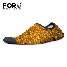 FORUDESIGNS Unisex Funny Bee Yellow Swimming Fins for Beach Printing Diving Sock Elastic Men Women Boots Wet Suit Shoes S M L XL