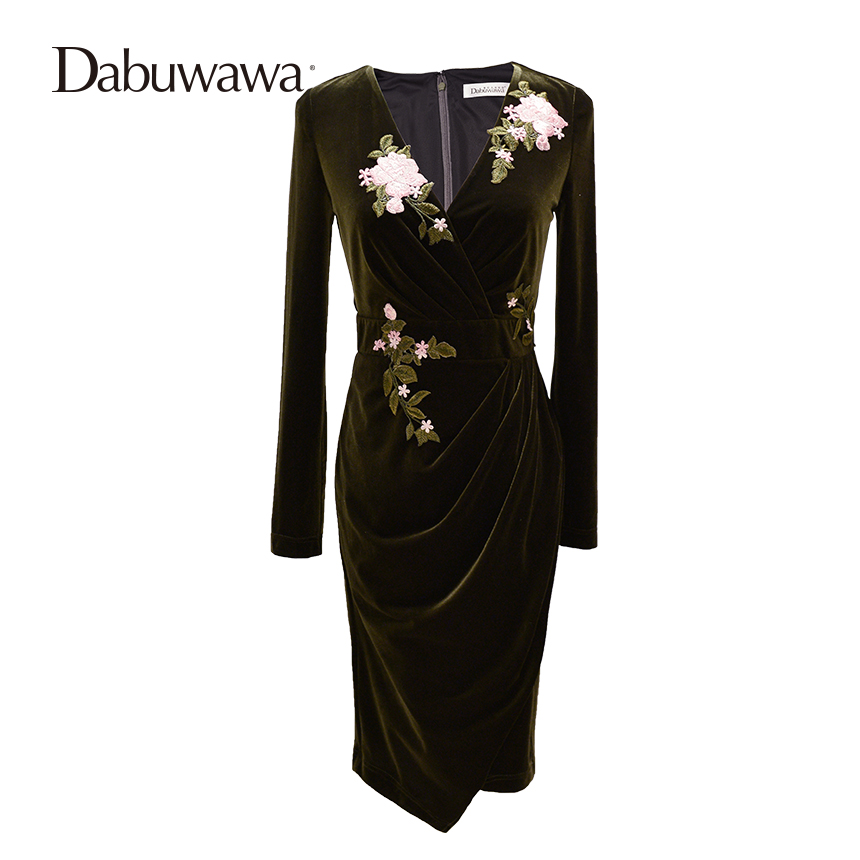 Dabuwawa Army Green Autumn And Winter Long Sleeve Vintage Dress Embroidery Deep V Neck Sexy Dress Vestidos(China)