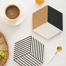 1Pcs Table Placemats Hexagon Cork Mat Coasters Geometric Soft Black Table Placemats Dining Placemat Woodiness(China)