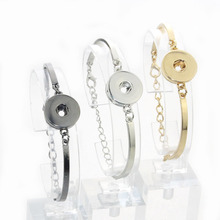 10 PCS/Lot 3 colors wholesale Snap Bracelet&Bangles 18mm snap button jewelry Women's bracelet with charms gold bangles 040213