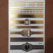 1PC Flash Metallic Waterproof Tattoo Gold Silver Women Fashion Henna AB022 Watch decoration Design Temporary Tattoo Stick Paster(China)