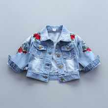 Baby Girls Denim Jacket Vintage Jeans Jackets for Girl Toddler Baby Denim Jackets Girls Jean Jacket Rose Flower Embroidery(China)